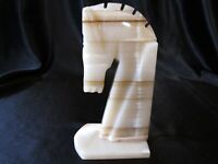 VINTAGE MARBLE ONYX STONE HORSE HEAD BOOKEND PAPERWEIGHT  MID CENTURY MODERN
