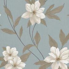 Erismann -spring Flor Floral Papel Pintado Vinilo Texturizado - Azul Turquesa