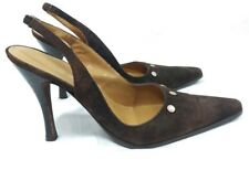 Bebe Women's Brown Suede Pointing Toe Metal High Heels Shoes Size 9.5 M