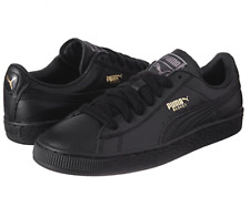 PUMA Classic LFS Mens UK 10 44.5 Black Team Gold Low Top Sneakers Trainers Shoes