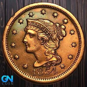 1854 Braided Hair Large Cent --  MAKE US AN OFFER!  #K5995