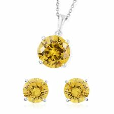 """Simulated Yellow Diamond Sterling Silver Earrings and Necklace 20"""" - 13.31 cts."""