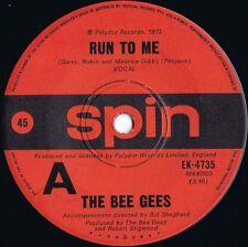 Bee Gees ORIG OZ 45 Run to me VG+ '72 Pop Rock Spin EK4735