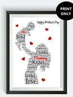 PERSONALISED Mum Mummy and Baby Son Daughter Word Art Print Mother's Day Gift
