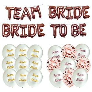 ROSE GOLD HEN PARTY BALLOONS LATEX CONFETTI TEAM BRIDE TRIBE TO BE DECORATIONS