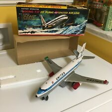 VINTAGE, TIN, NOMURA BOEING UAL 737 JET PLANE FULLY WORKING WITH BOX! RARE