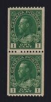 Canada Sc #131 (1915-24) 1c dark green Admiral Coil Pair Mint VF NH