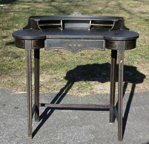 American Aesthetic 19th c Japanese Black Ebonized Wood Curved Writing Table Desk