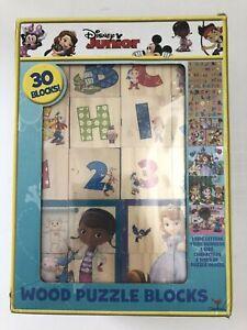 Disney Jr Wood Puzzle Blocks 6 Puzzles Alphabet #'s Mickey Doc McStuffins Jake