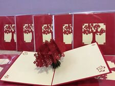 3D POP UP Card beautiful RED flower greeting card, 2 cards
