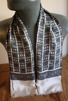 Vintage Mod Dandy silk style scarf geometric cream 60s 70s S799 mens womens