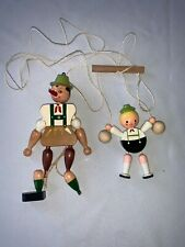 Vintage 1950's Wooden Pull String Jumping Jack & Dutch Boy toy Puppets
