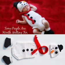 Baby Xmas Christmas Snowman Crochet Beanie Hat Knitted Photo Photography Prop x1