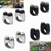 """2PCS Motorcycle  7/8"""" 1"""" Handlebar 2 Button Control Momentary Switch For Harley"""