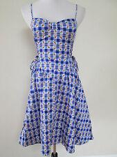 Auth Betsey Johnson Blue Gingham Rose Print Corset Laced Retro Shift Dress Sz 6