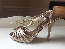 Kate Spade Go champagne satin peep toe high heels wedding bridal 8 M beige new