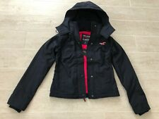 New Hollister Abercrombie & Fitch Women All-Weather Hooded Jacket Coat- Navy - S