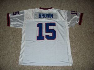 JOHN BROWN Unsigned Custom White Sewn New Football Jersey Sizes S-3XL