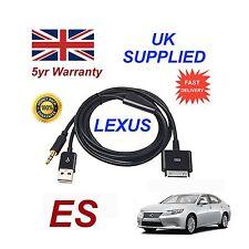 LEXUS ES Audio System iPhone 3GS 4 4S iPod USB & 3.5mm Aux Cable black