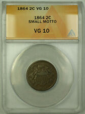 1864 Small Motto Two Cent 2c Piece Coin ANACS VG-10 RJS