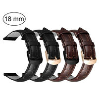For 18mm Watch Band Quick Release Leather Watch Strap Metal Clasp Women Men