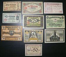 10 x Notgeld: 10 bis 75 Pfennig 1920-22: Kevelaer, Kallies, Körlin, Köln usw.