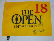2015 BRITISH OPEN PLAYOFF SIGNED PIN FLAG ZACH JOHNSON LEISHMAN OOSTHUIZEN PROOF