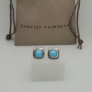 David Yurman Albion Earrings with 7mm Turquoise in Sterling Silver 925