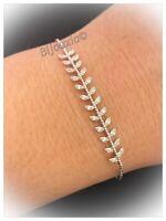 Bracelet Feuilles De Laurier ZIRCONIUM Argent 925/1000 Rhodié Bijoux Femme