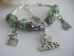 Green 'Love My Cats' Hearts Peridot Charm Bracelet Cat Soft Kitty Crazy Cat Lady
