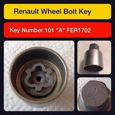 RENAULT écrou verrouillage ROUE / Master Clé Code 101 LETTRE A
