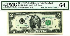 $2 DOLLARS 1976 FIRST DAY STAMP CANCEL CLEVELAND OH LUCKY MONEY VALUE $1976