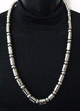 Silver Bead Necklace Handcrafted Navajo Native American JEFFREY CASTILLO *278