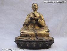 Tibet Lama Buddhism Temple Bronze 24K Gold Tsongkhapa Teacher Buddha Statue