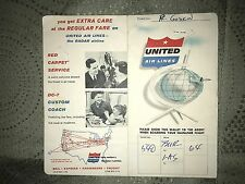 United Air Lines Original Ticket Stub and Paul Godkin Written On Folder 1959