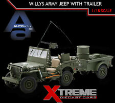 AUTOART 74016 1:18  WILLYS ARMY JEEP GREEN WITH TRAILER & ACCESSORIES