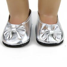 "Reborn Baby Doll Child Shoes Silver Bow Fits 18"" American Girl Doll Clothes"