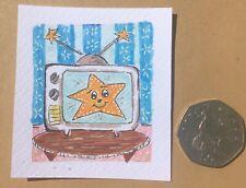 "Miniature Original TV Star Illustration 2"" Square Small Art For Dolls House?"