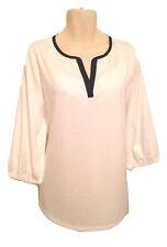 Lauren Ralph Lauren Women Plus Size Top 2X Contrast Trim White Navy 3/4 Sleeve