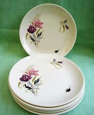 "6 Myott ""Rosamunde"" side plates - 7"" diameter - pink, grey, yellow floral"