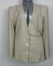 Chaus light beige raw silk blazer w/ front pockets size 16? see measurements