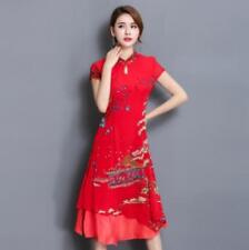 Vintage Chinese Womens Dress QiPao Evening Party Long Dress Outwear Formal YH