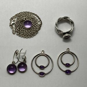 Lot of 5 pc Pandora Amethyst Sterling Jewelry; Earrings, Ring, Pendant, 2 more