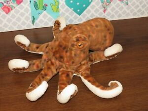 "Wild Republic K&M Octopus Spotted Brown Cream Stuffed Animal 2011 Plush Toy 12"""