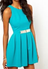 Lipsy Skater Dress 10 Teal Blue Plate Metal Belt Textured Party Wedding Evening
