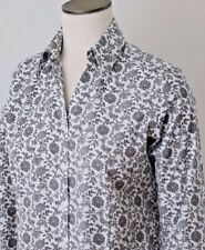 Eddie Bauer Blouse Black/White floral Shirt Top Size M, Cotton