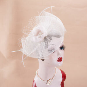 Womens White Sinamay Fascinator Floral Feather Veil Kentucky Derby Wedding T350
