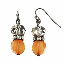 NEW! SIMPLY VERA WANG Apricot Orange Crystal Corseted Earrings FREE SHIPPING!