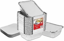 Stock Your Home Aluminum Foil Oblong Pans with Lids - 50 Pack