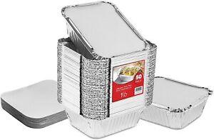 Stock Your Home Aluminum Foil Oblong Pans with Lids - 50 Pack